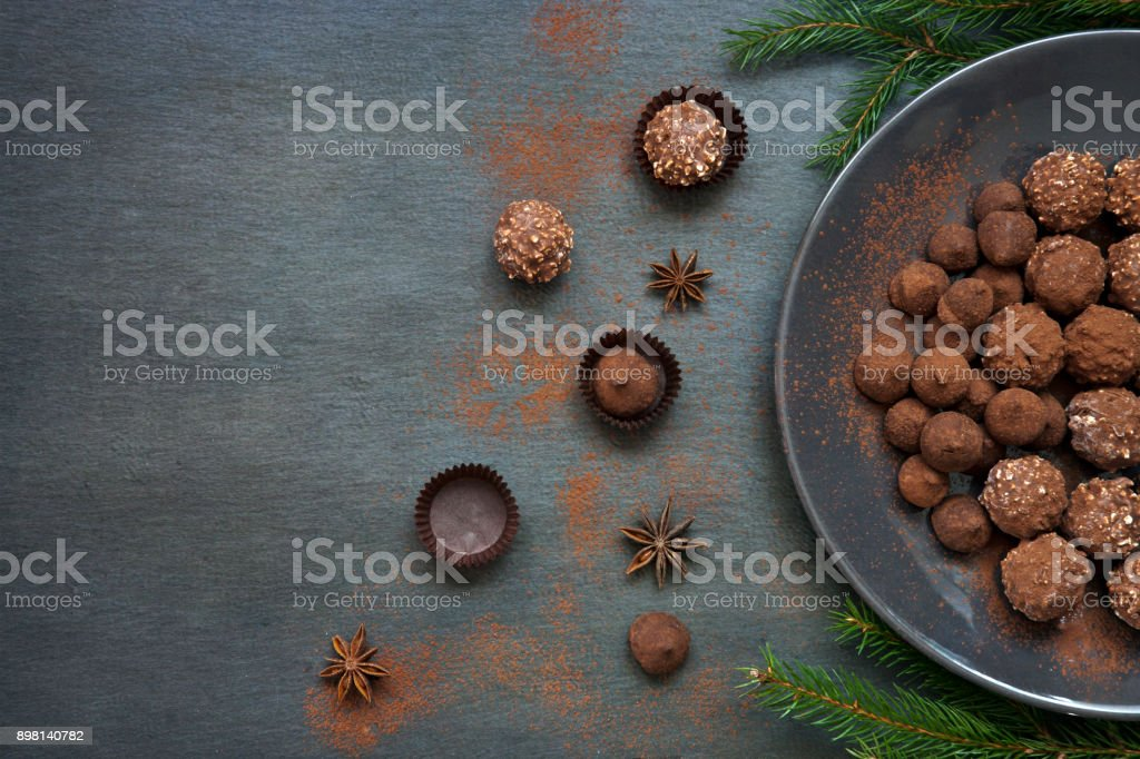 Chocolate sweets on vintage background. Top view, close-up, background, copy-space for your text stock photo