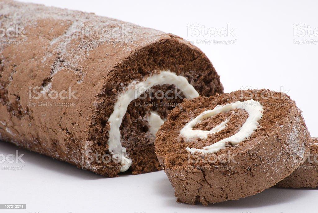 chocolate swiss roll stock photo