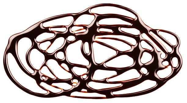 chocolate syrup drip, frame is isolated on a white background - chocolate syrup stock photos and pictures