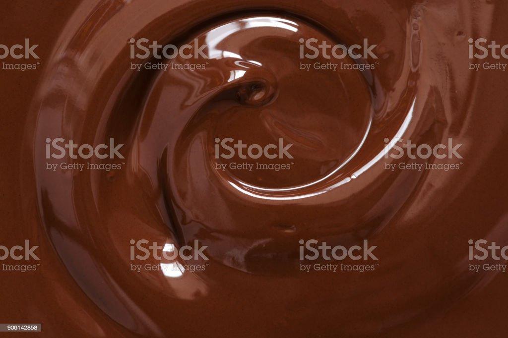Chocolate texture. Liquid chocolate close-up.