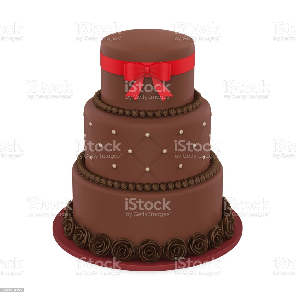 Chocolate Tiered Cakes isolated on white background. 3D render