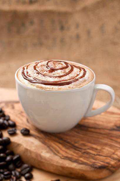 Chocolate topped Coffee stock photo
