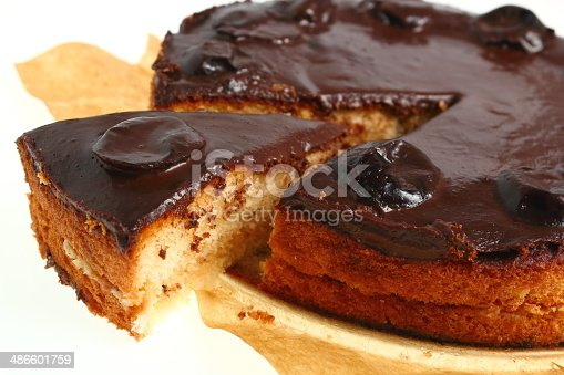 Chocolate Topped Sponge Cake with Prunes and Toffee Sauce