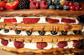 Close up homemade  torte with berries between layers and on the  top