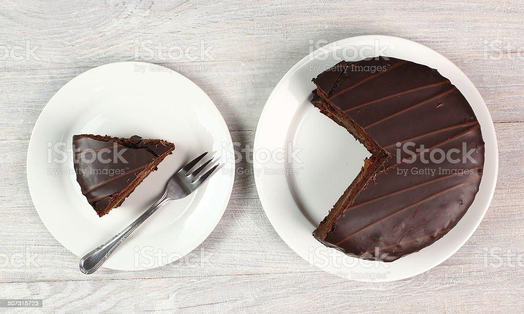 Schokoladentorte-Sachertorte - Lizenzfrei Aprikose Stock-Foto