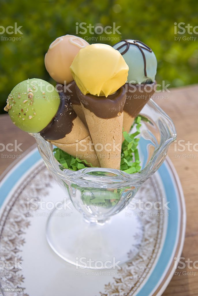 Chocolate Truffle Candy in Ice Cream Cones, Summer Picnic Dessert royalty-free stock photo
