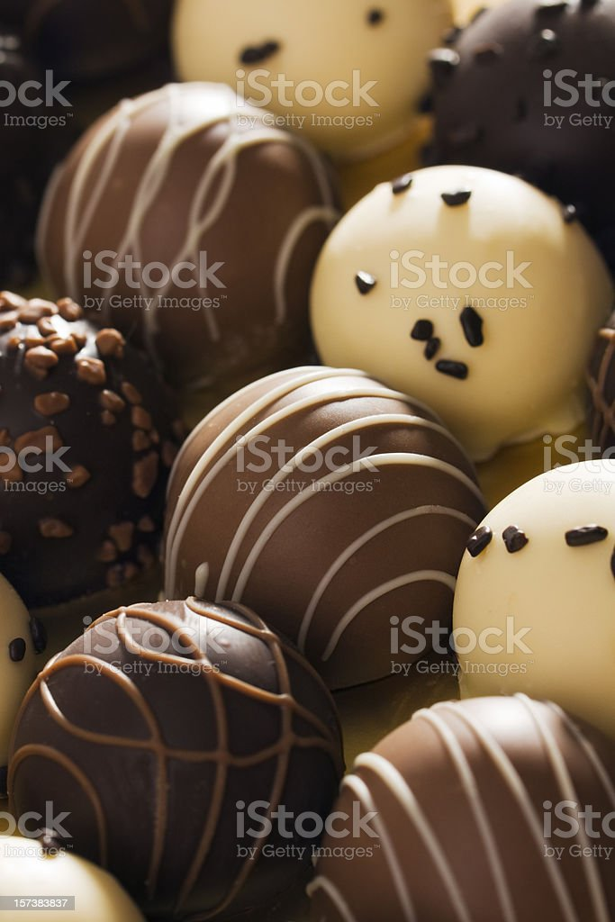 Chocolate Truffle Gourmet Candy Variety Dessert Retail Display royalty-free stock photo