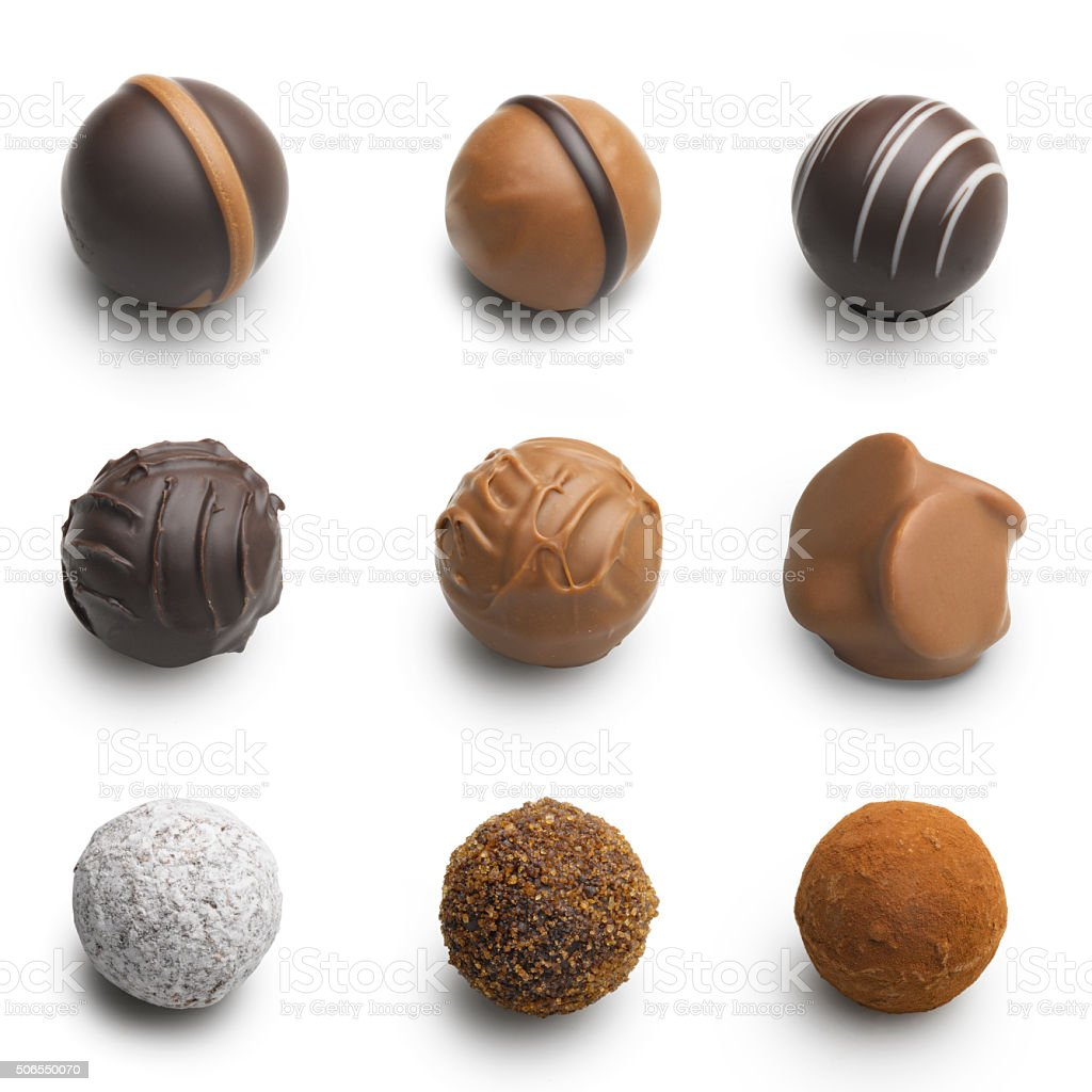 chocolate truffles assortment isolated on white stock photo