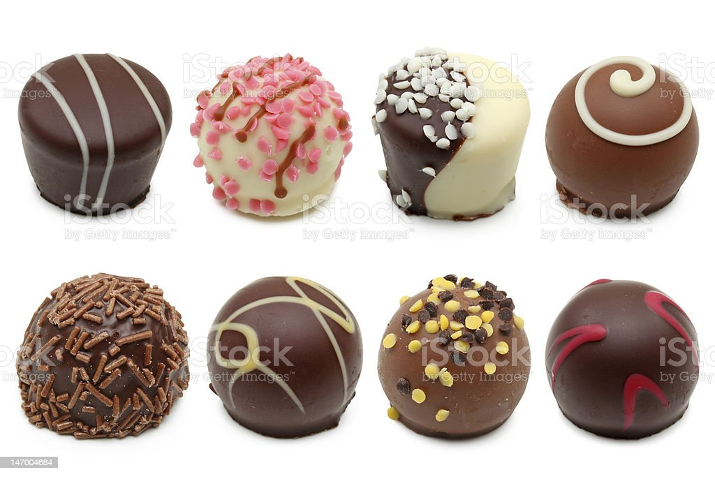 chocolate truffles assortment stock photo