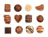 Mixed Chocolates isolated on white background