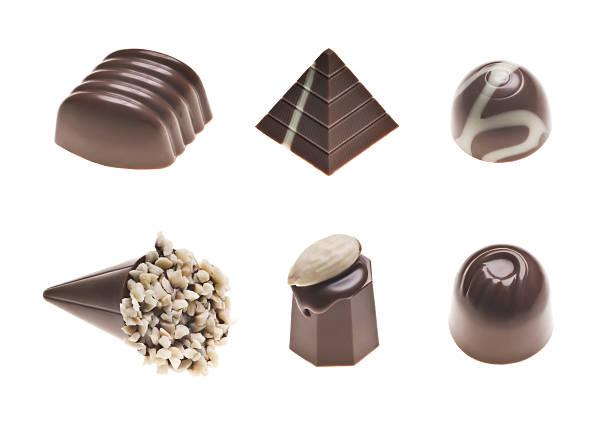 schokoladentrüffel auswahl - pyramide sammlung stock-fotos und bilder