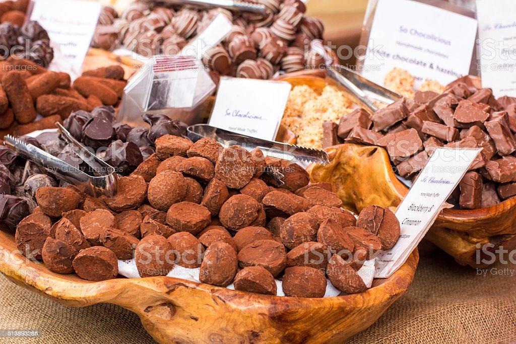 Chocolate Truffles in Borough Market, London stock photo