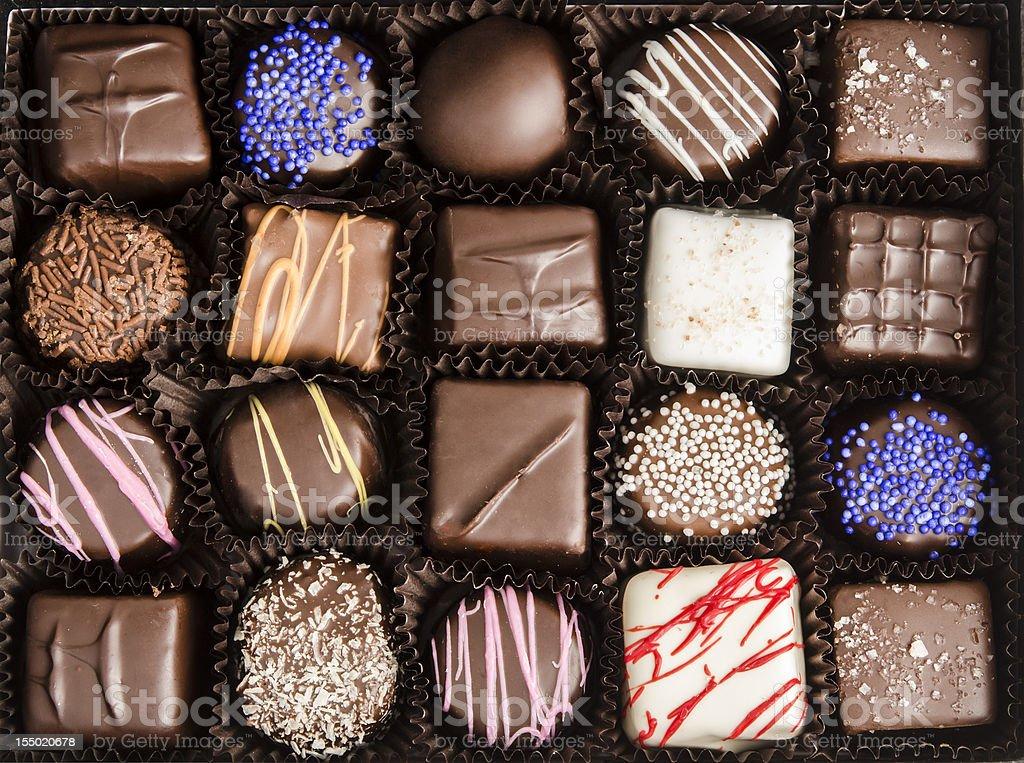 Chocolate Truffles in the Box stock photo