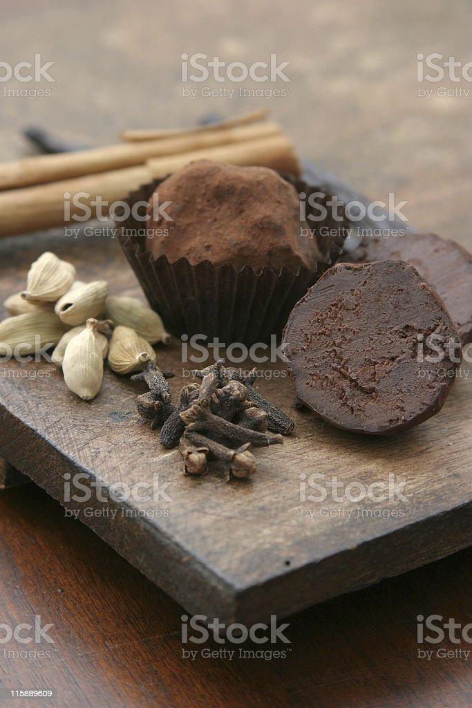 Chocolate Truffles with Cardamom, Cloves and Cinnamon royalty-free stock photo