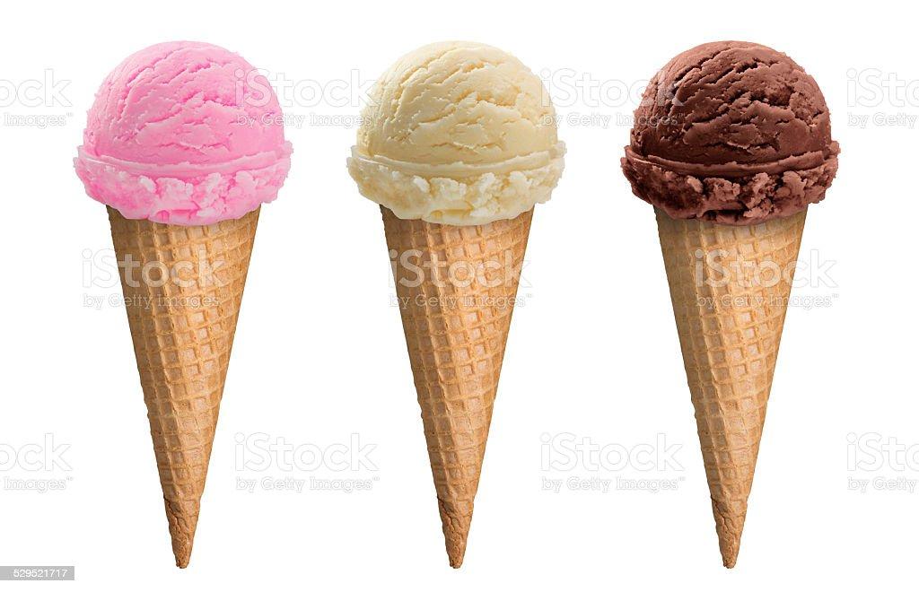 Chocolate vainilla y cuchara de helado de fresa de cono de - Calorias de un cono de helado ...