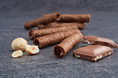 istock Chocolate Wafer Rolls with Butter and Cocoa Filling 1049604780