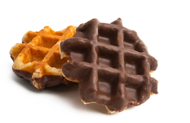 chocolate waffles isolated chocolate waffles isolated on white background lulik stock pictures, royalty-free photos & images