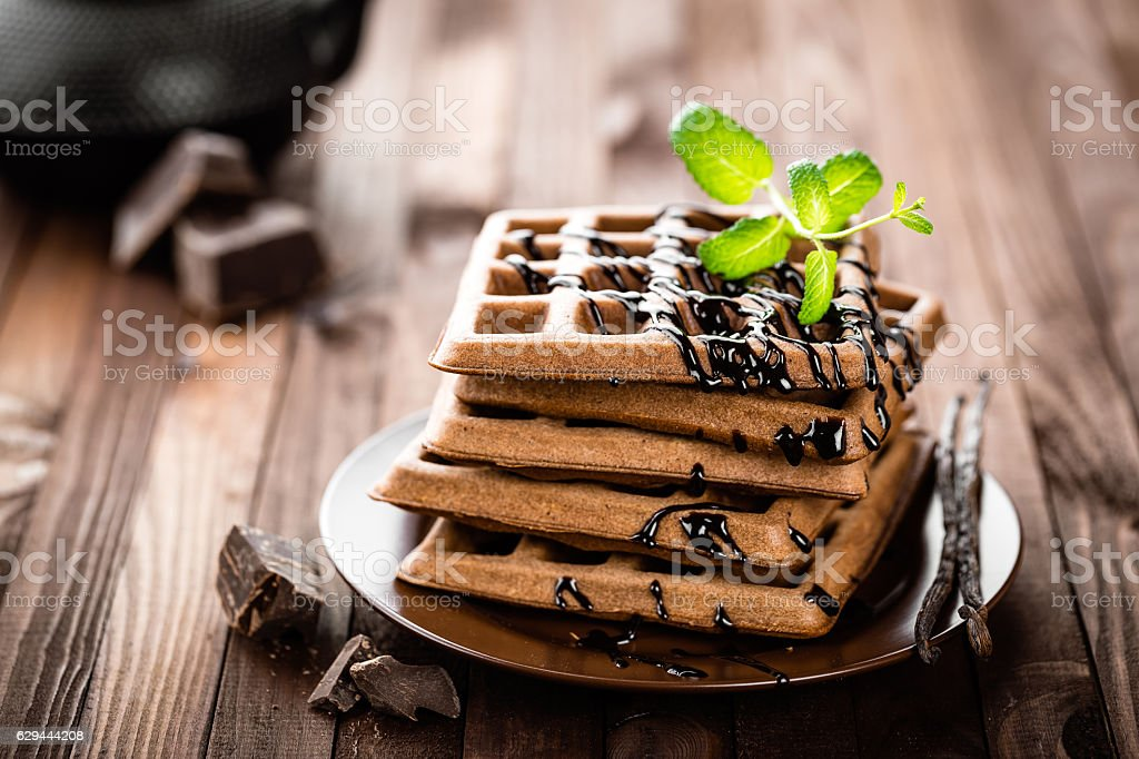 chocolate waffles stock photo