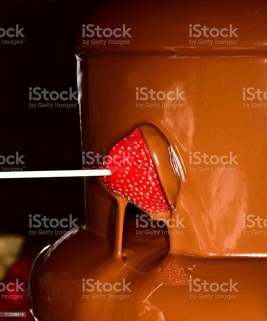 chocolate waterfall tower  Berry Fruit Stock Photo