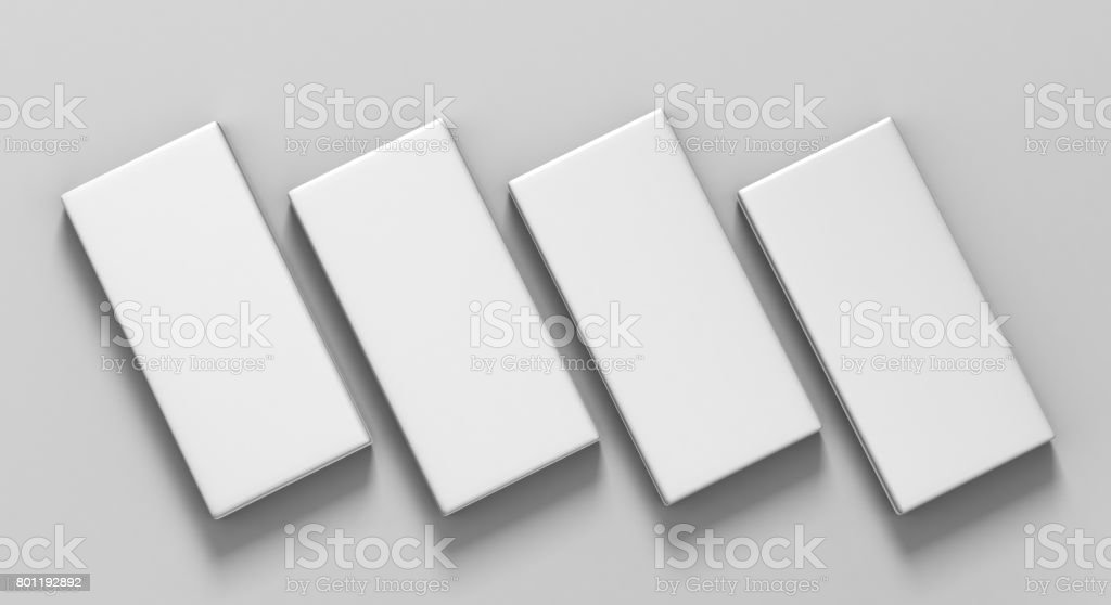 Chocolate White Blank Paper Box Packaging Stick Sachet for 3d Mock up and design presentation. stock photo