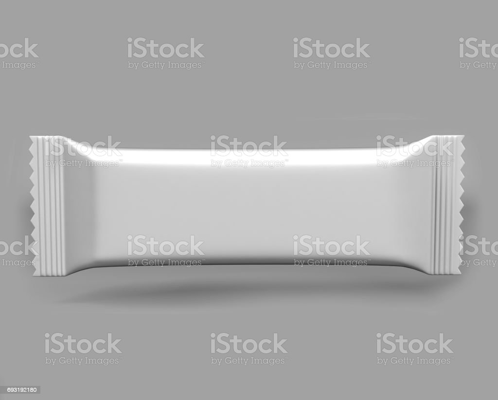 Chocolate White Packaging Stick Sachet Mock up 3D illustration. stock photo