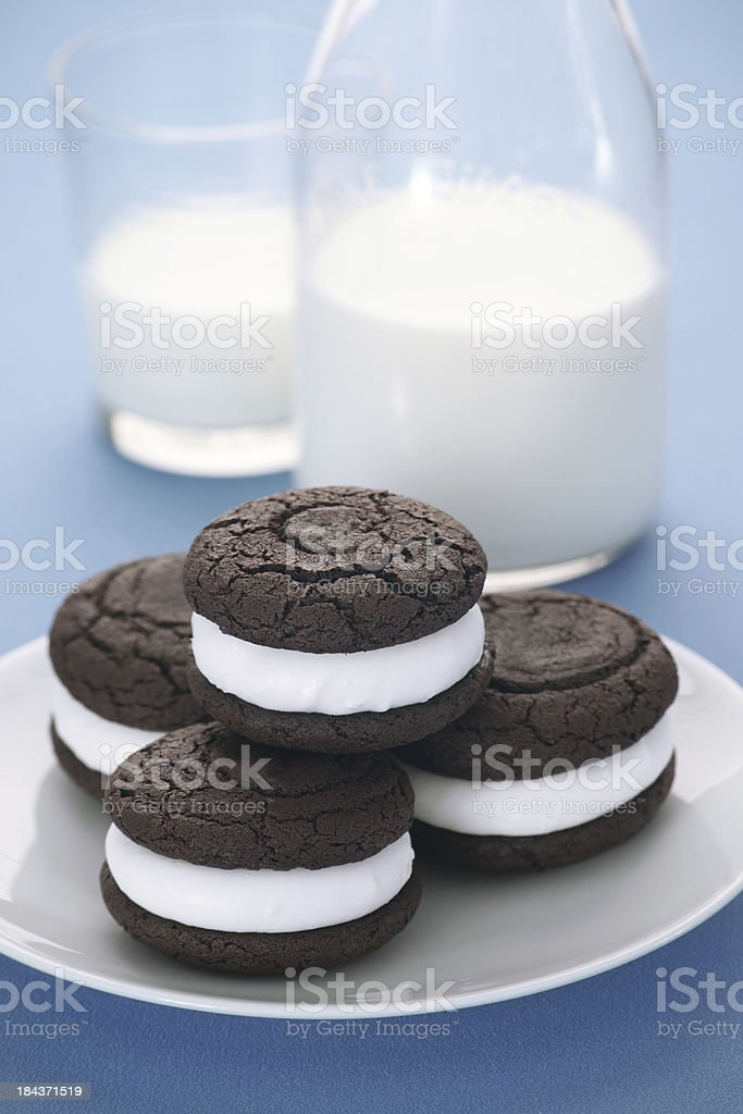 Chocolate Whoopie Pies and Milk royalty-free stock photo
