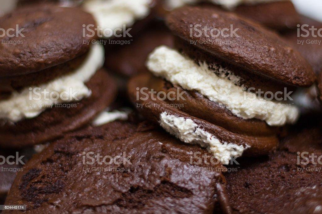 Chocolate Whoopie Pies Close-Up stock photo