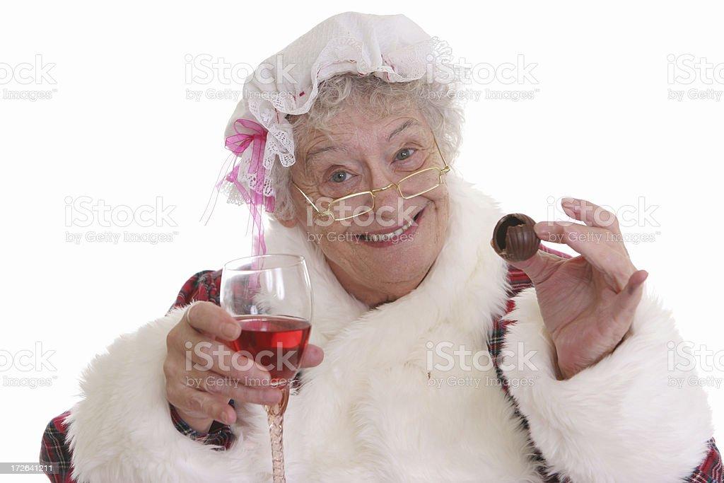 Chocolate &Wine Mrs Claus royalty-free stock photo