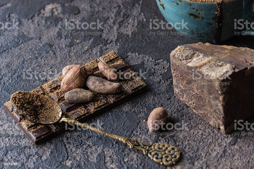 Chocolate with cacao beans stock photo