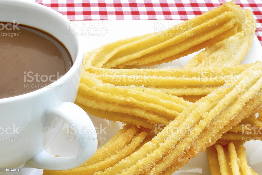 Chocolate with churros royalty-free stock photo