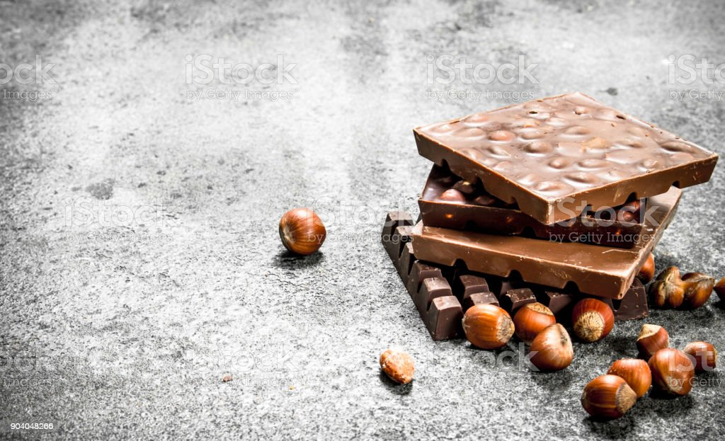 Chocolate with nuts. stock photo
