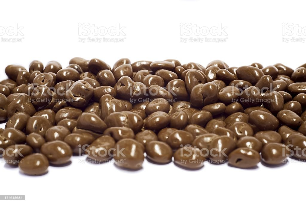 Chocolate with raisins isolated on white background stock photo
