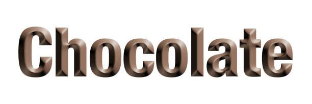 """""""chocolate"""" wort, braune farbe, 3d-rendering - schokolade typografie stock-fotos und bilder"""