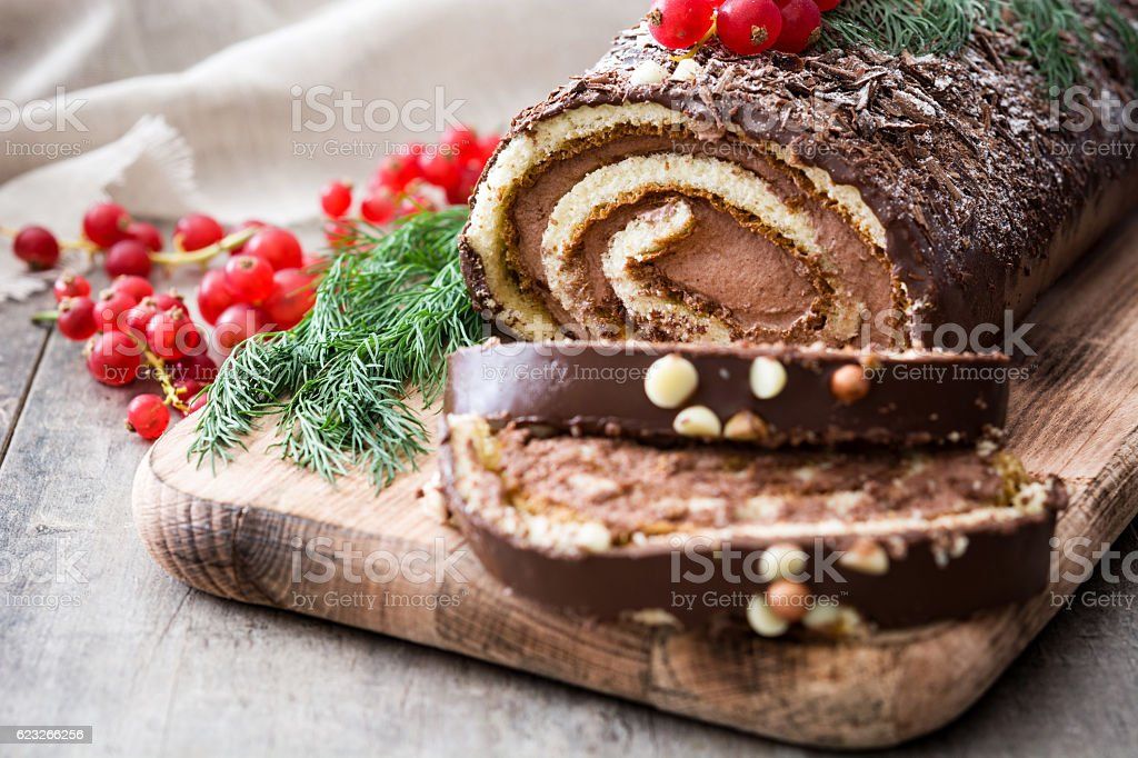 Chocolate yule log cake royalty-free stock photo