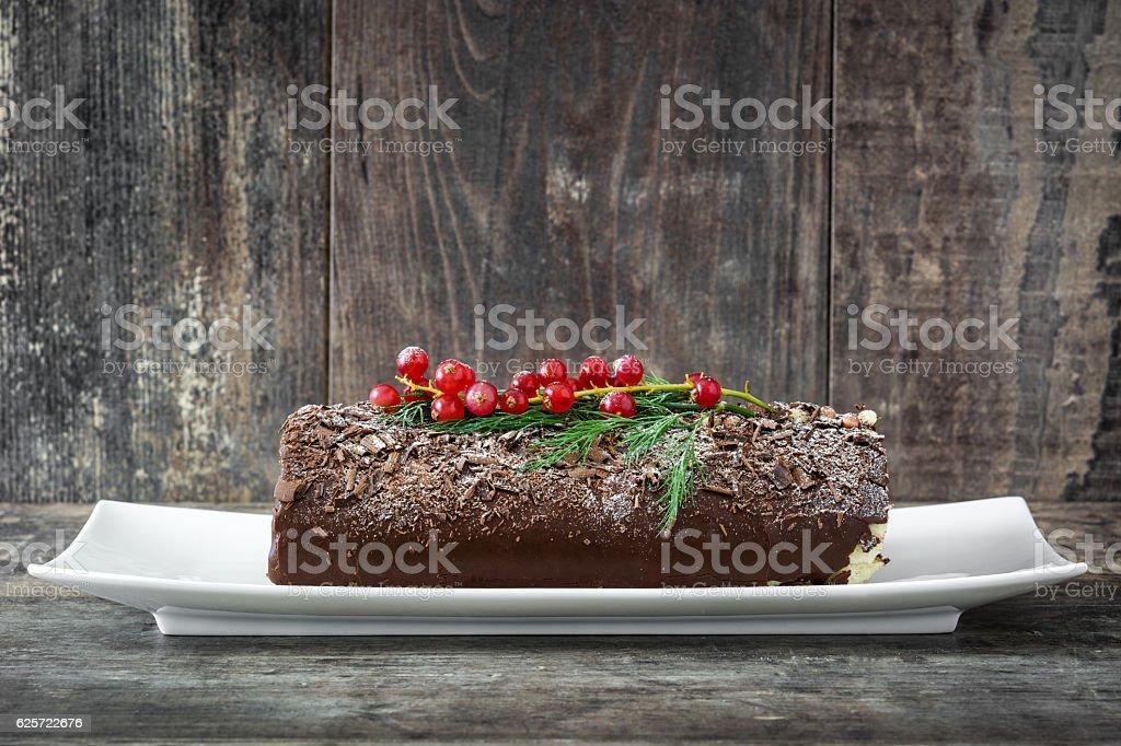 Bûche de Noël gâteau au chocolat - Photo
