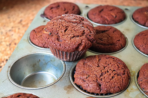 A chocolate zucchini muffin pulled out of a tray.
