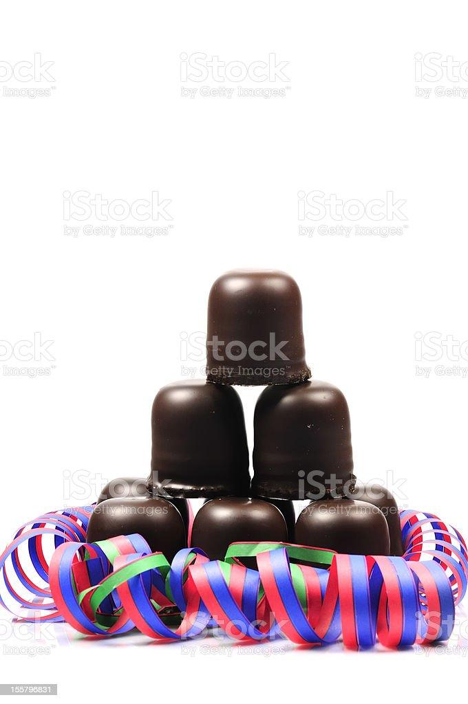 chocolate-coated marshmallow treats stock photo