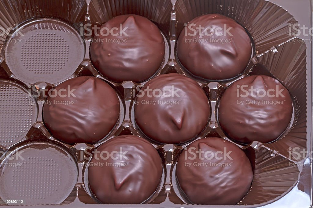 Chocolate-covered marshmallow stock photo