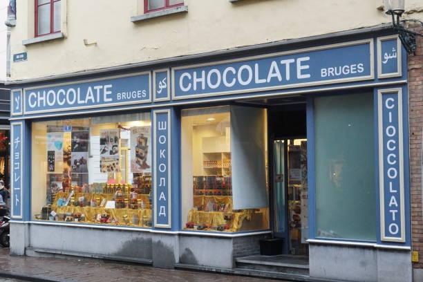 Chocolaterie in Bruges, Belgium stock photo