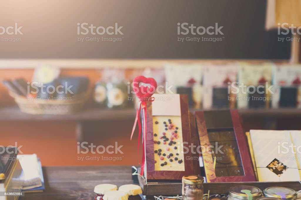 Chocolates and marmalades at counter of a pastry shop stock photo
