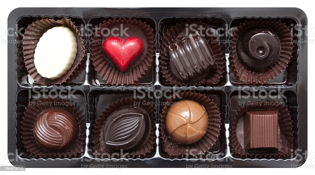Chocolates (Clipping path!) isolated on white background stock photo