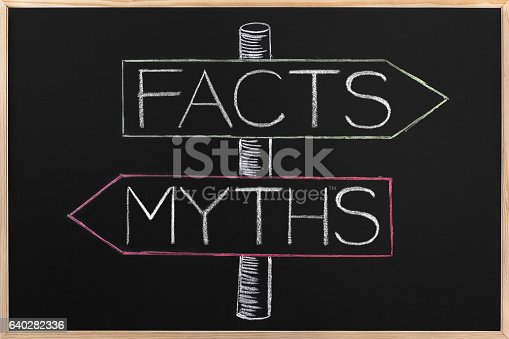 istock Choicе Myths or Facts wrriten on opposite arrows on Blackboard 640282336
