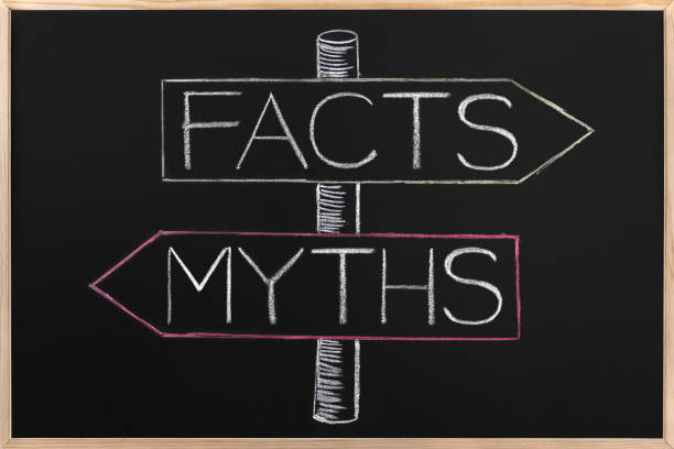 Choicе Myths or Facts wrriten on opposite arrows on Blackboard - Photo
