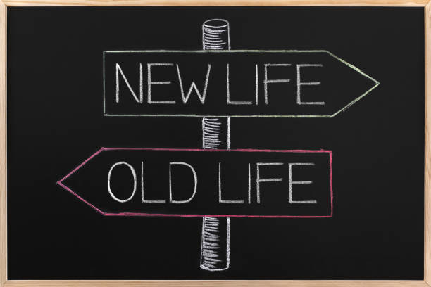 Choicе Old or New Life on opposite arrows on Blackboard - Photo
