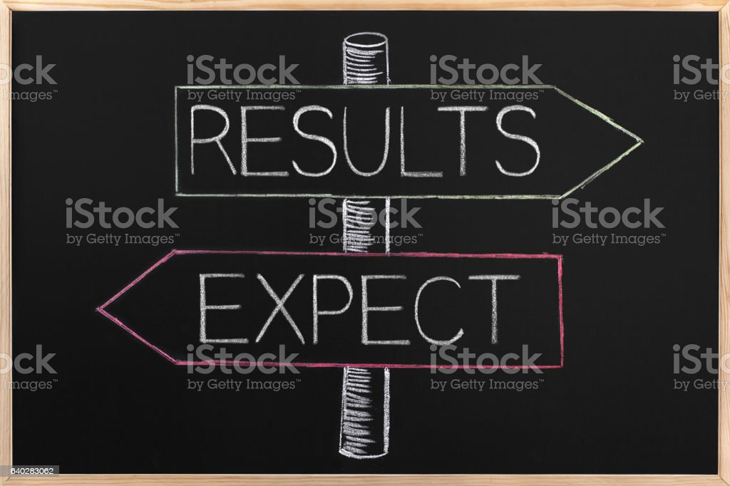 Choicе Results or Expect wrriten on opposite arrows on Blackboard stock photo