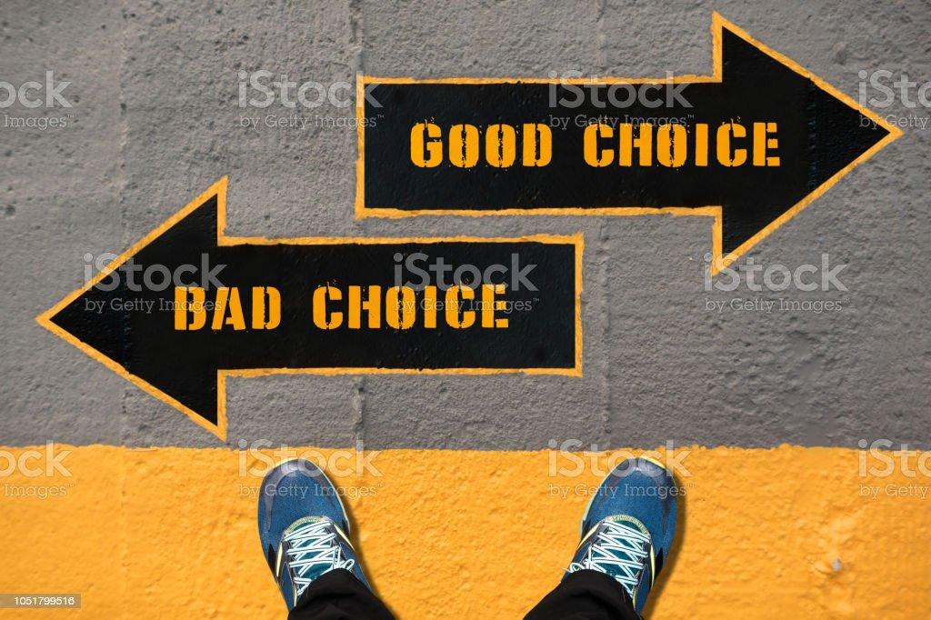 Wahl-Konzept - gute und schlechte Entscheidung – Foto