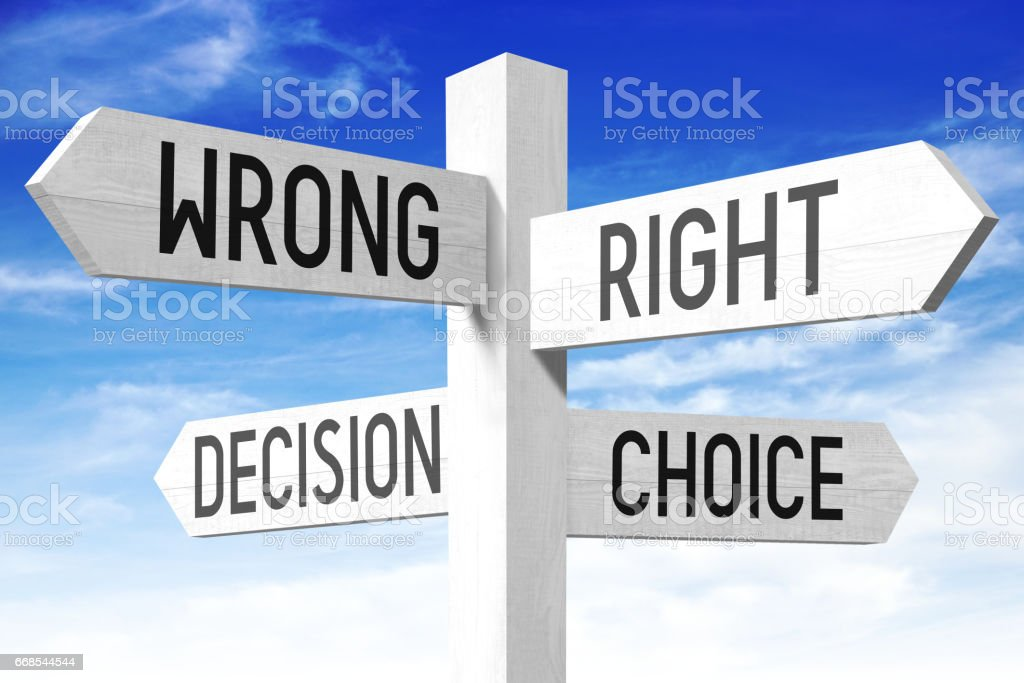 Choice concept - wooden signpost stock photo