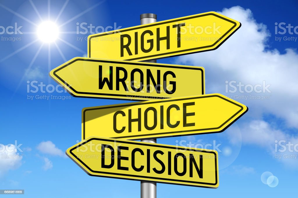 Choice concept - yellow road-sign stock photo