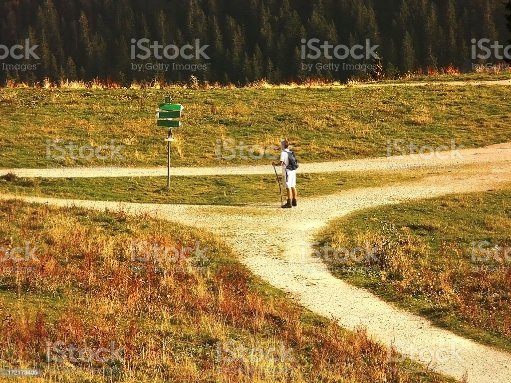 choice of direction - hiking stock photo