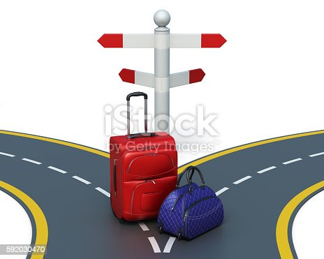 Choice of direction travel isolated on white background. Suitcases near pointer. Concept image. 3d rendering